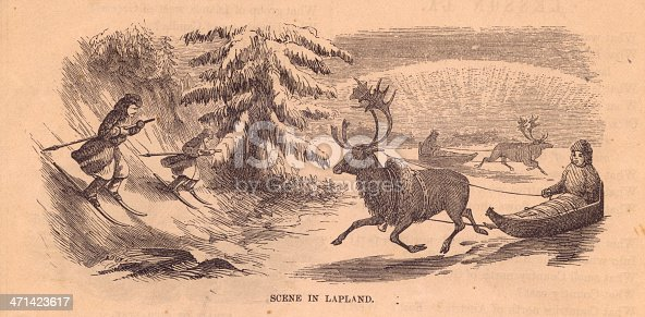 istock Old, Black and White Illustration of Scene in Lapland,1800's 471423617