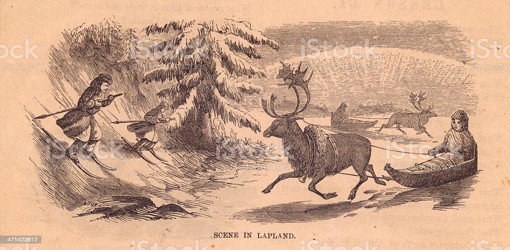 Old, Black and White Illustration of Scene in Lapland,1800's vector art illustration