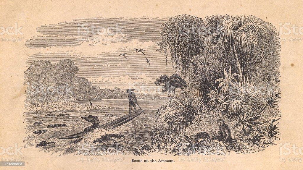 Old Black and White Illustration of Scene on Amazon River vector art illustration