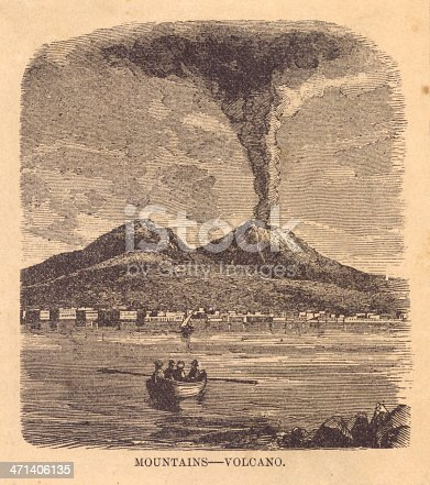 Old black and white illustration of a volcano erupting, from 1800's.