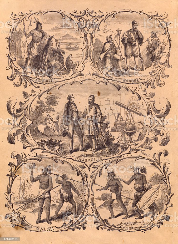 Old, black and white illustration of people of different races, from...