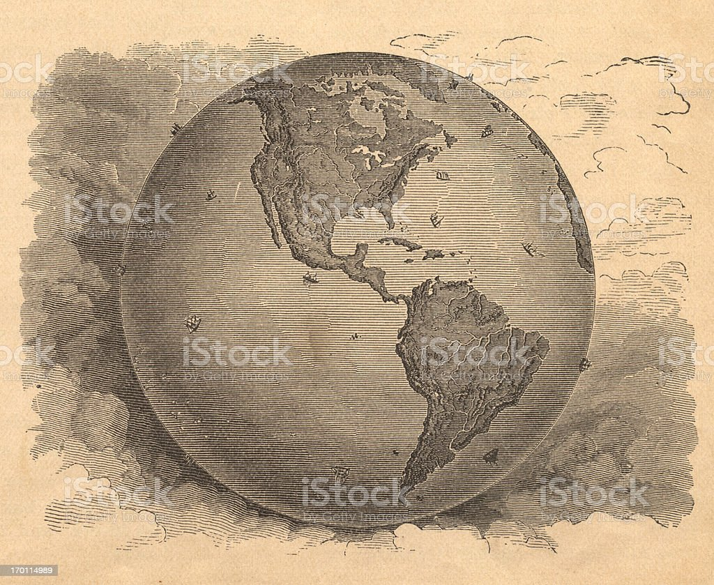 Old, Black and White Map of Western Hemisphere, From 1800's vector art illustration
