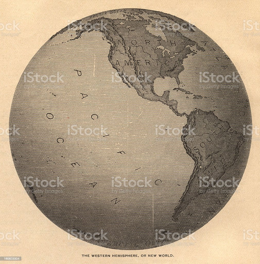 Old Black And White Map Of Western Hemisphere From S Stock - 1800s world map