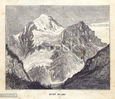 istock Old, Black/White Illustration of Mont Blanc, 1881 171314178