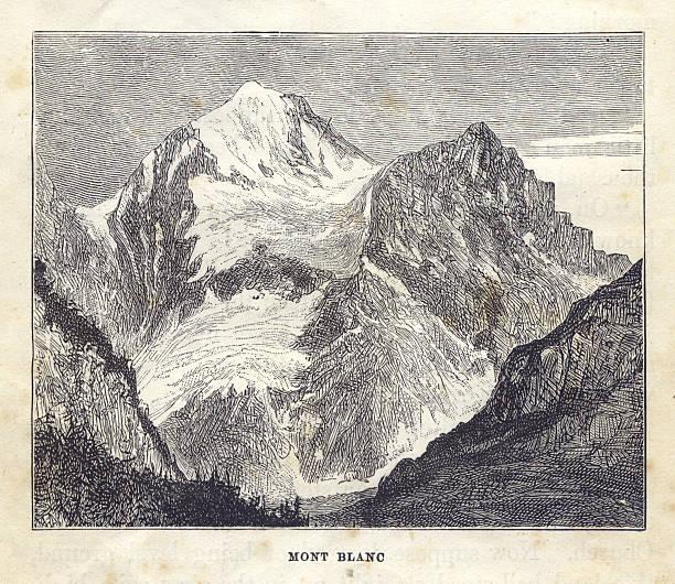 illustrazioni stock, clip art, cartoni animati e icone di tendenza di vecchio, bianco e nero, illustrazione di mont blanc, 1881 - monte bianco