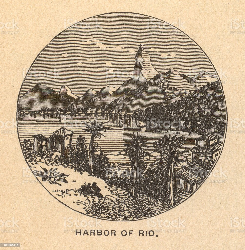 Old, Black/White Illustration Showing Harbor of Rio, 1800's royalty-free stock vector art