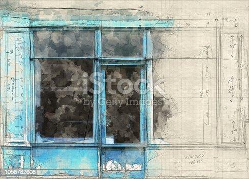 Old blue shop in Paris vintage illustration