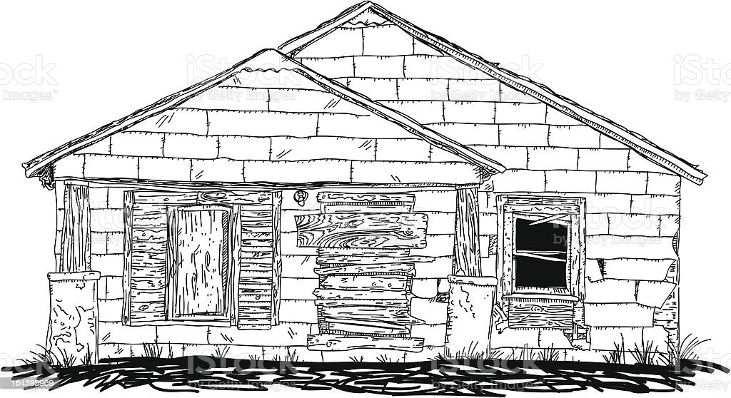 Old Boarded Up House vector art illustration