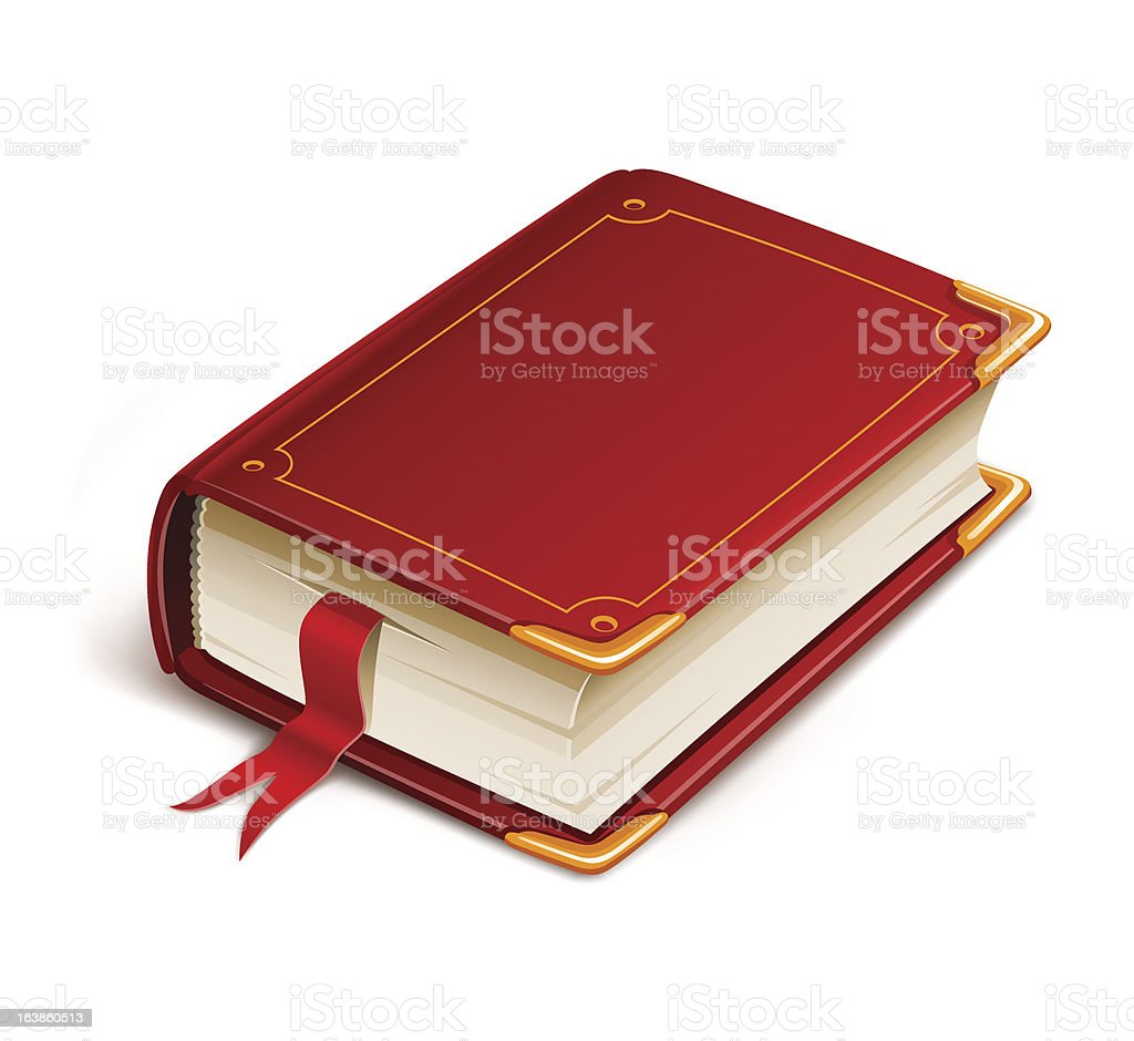 old book with bookmark vector art illustration