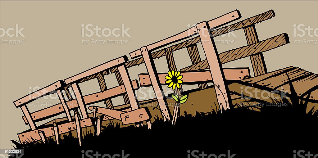 Old Bridge and Sunflower royalty-free stock vector art