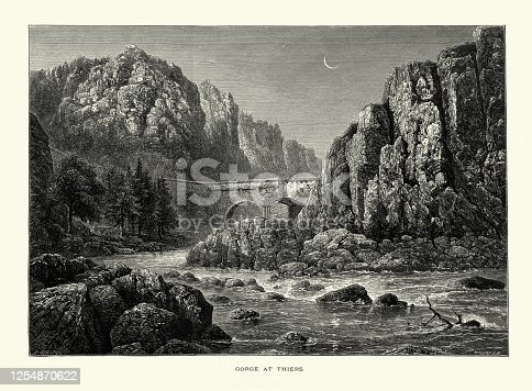 Vintage Illustration of Gorge at Thiers, Auvergne, France, 19th Century