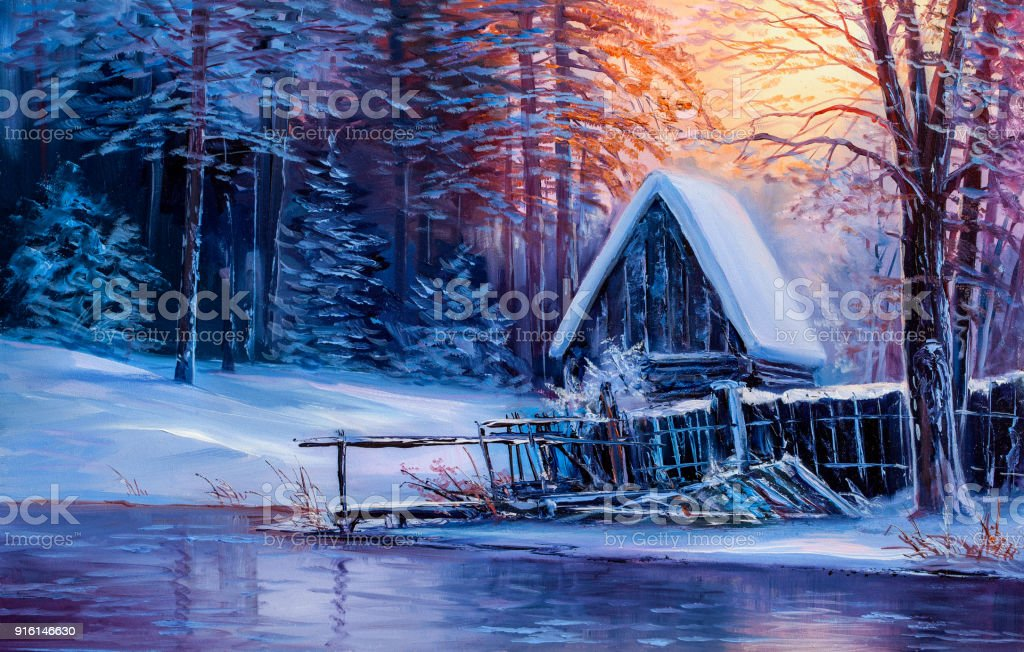 Old Cabin In Winter ForestOil Painting Royalty Free