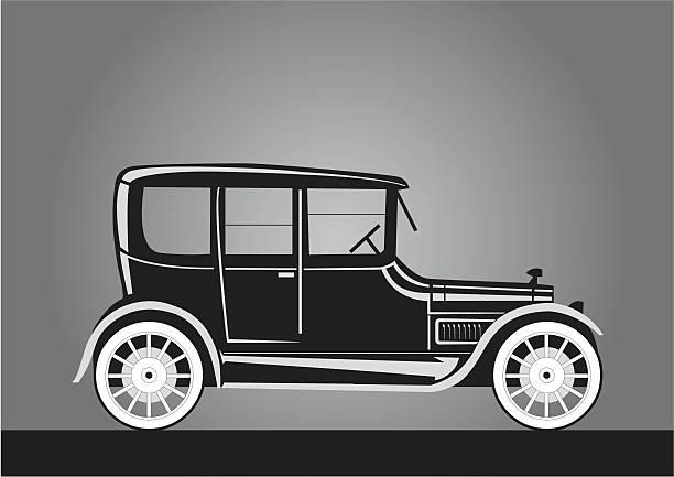Silhueta do carro velho em estilo vitoriano - ilustração de arte em vetor