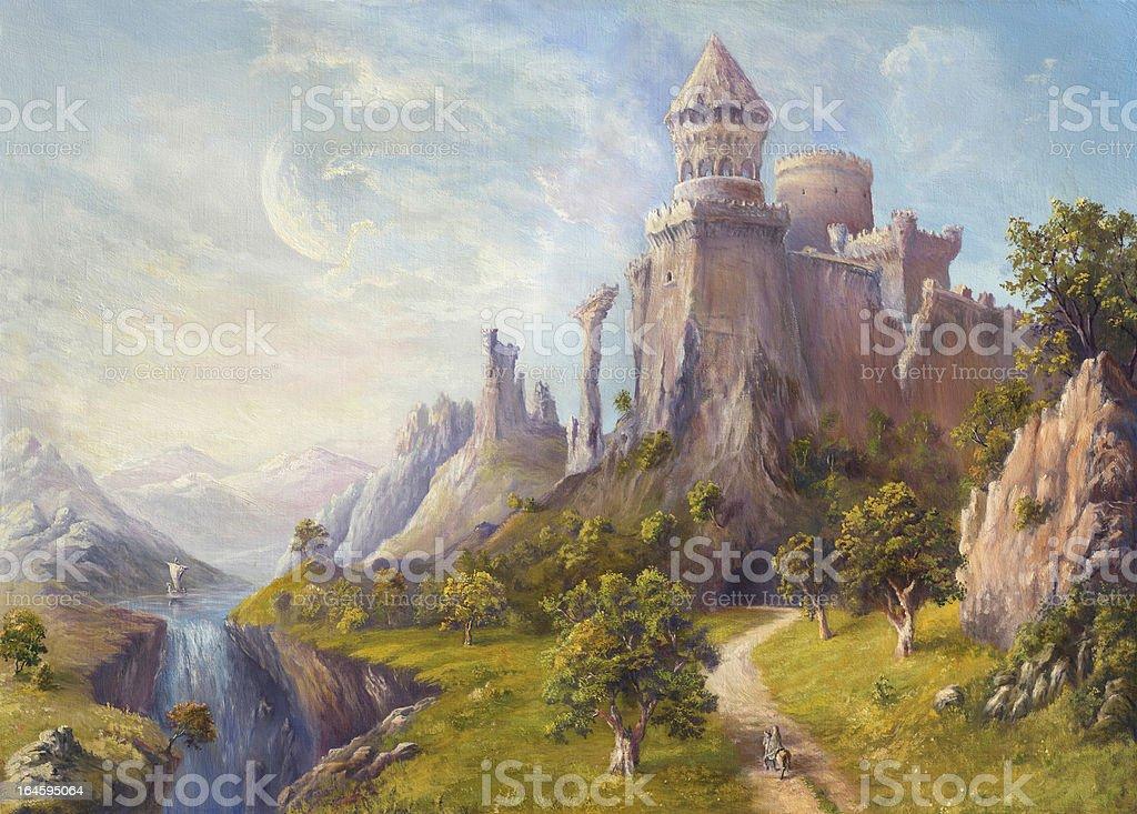 Old Castle vector art illustration