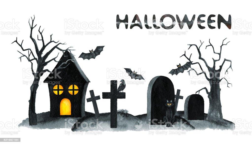 Paysage Du Vieux Cimetière Nuit De Lhorreur Halloween Party