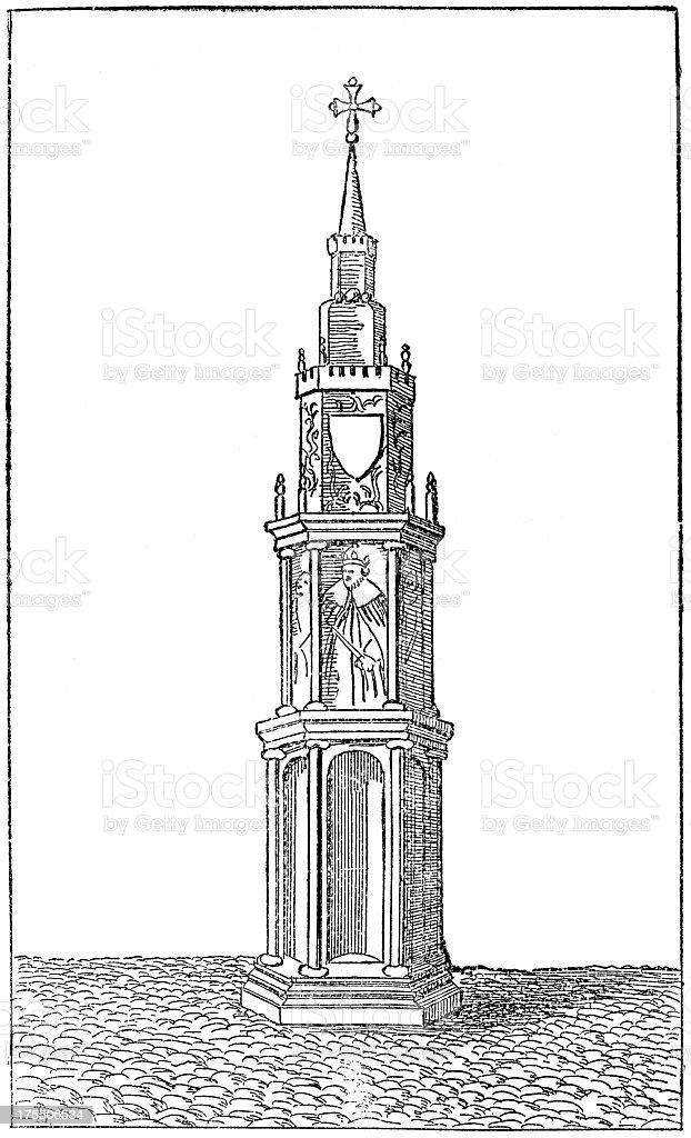 Old Charing (Eleanor) Cross, London, 13th Century (illustration) royalty-free stock vector art