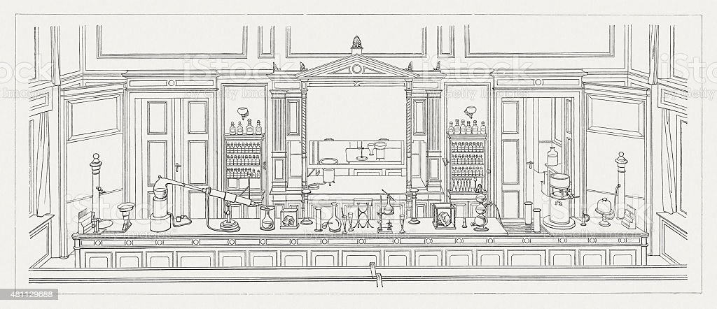Old chemistry laboratory, published in 1881 vector art illustration