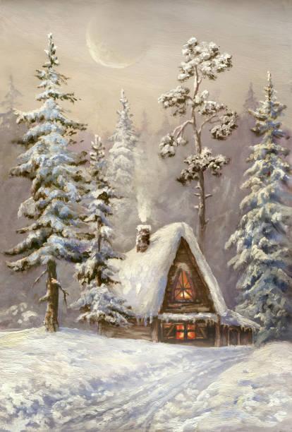 stockillustraties, clipart, cartoons en iconen met old christmas card - christmas cabin