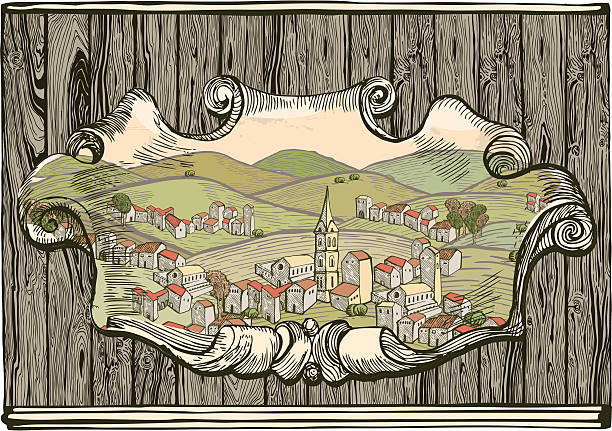 Old city drawing on Wooden plank vector art illustration