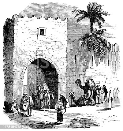 People entering and exiting through the old city gate in Beirut, Lebanon. Vintage etching circa mid 19th century.