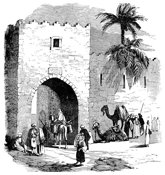 old city gate in beirut, lebanon - ottoman empire 19th century - beirut stock illustrations