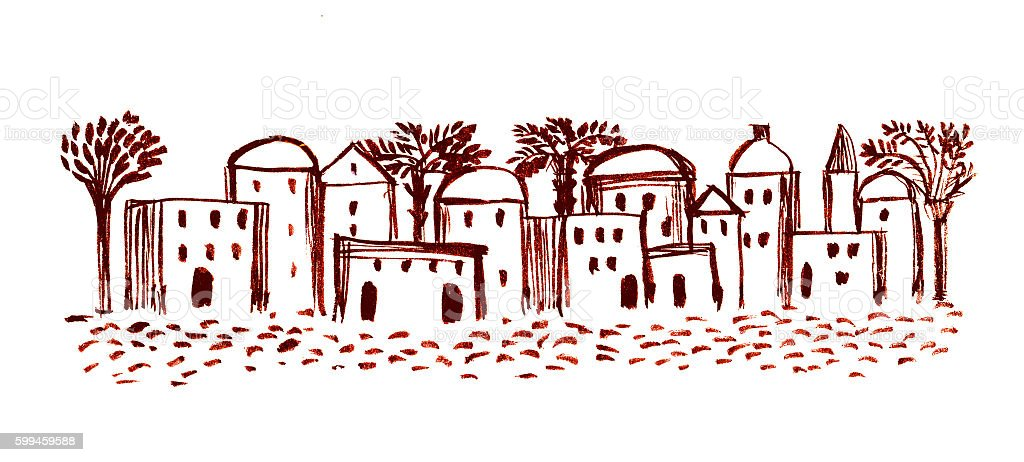 Old City, Illustration,Sketch, Middle East Ancient Town vector art illustration