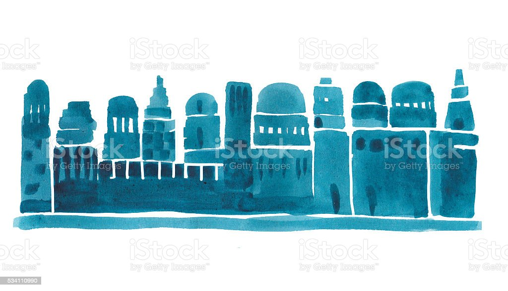 Old City, Middle East Town vector art illustration