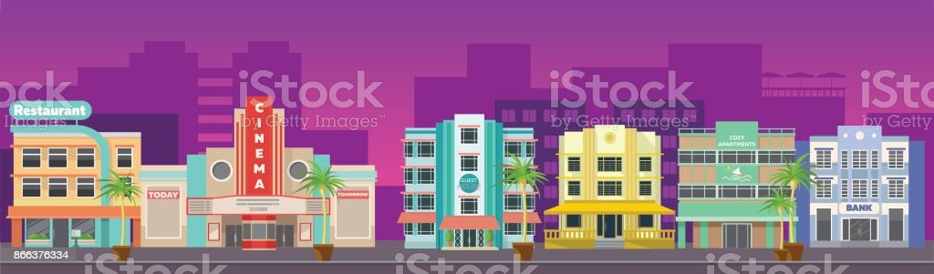 Old city retro Miami skyline panorama at sunset. Banner for site vector art illustration