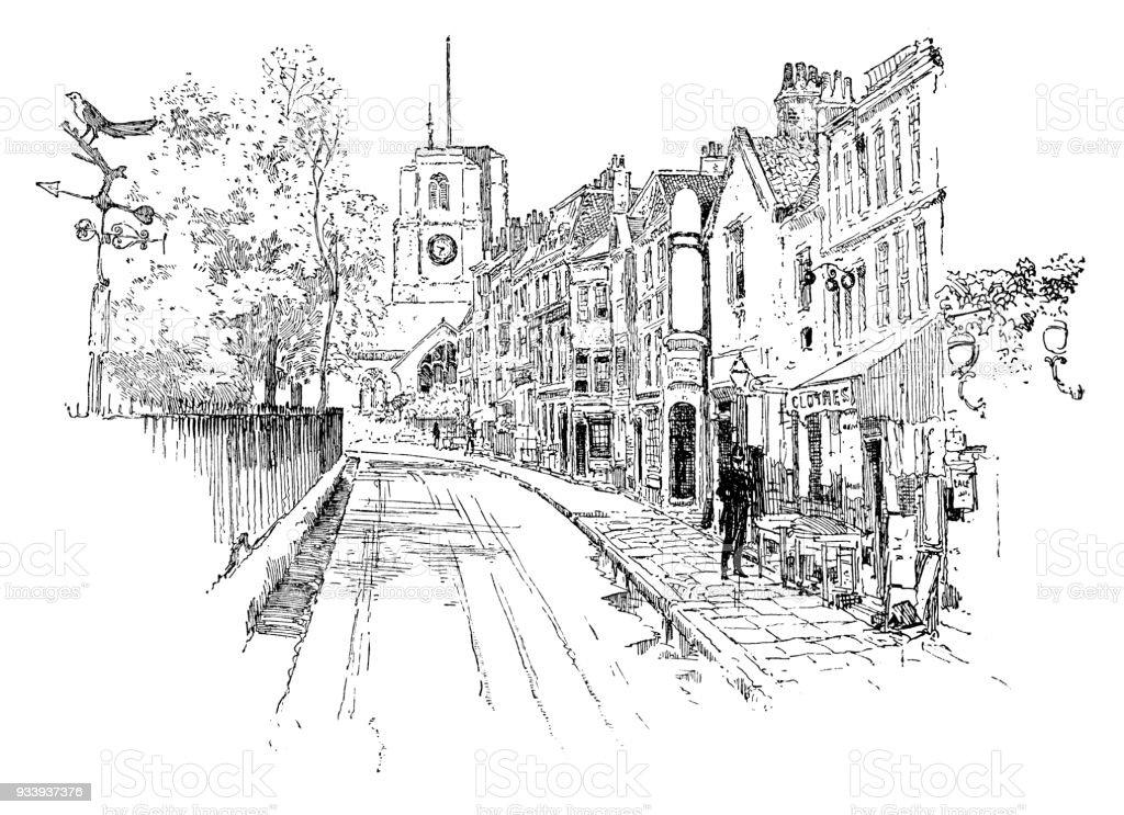Old city street in London vector art illustration