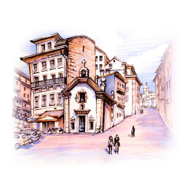 ilustrações de stock, clip art, desenhos animados e ícones de old colorful houses in ribeira, porto, portugal - douro