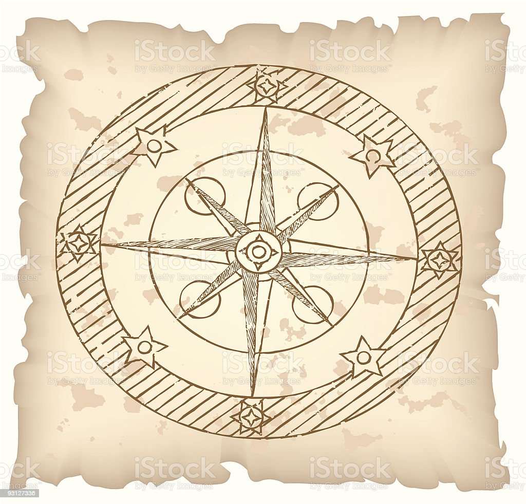 Old compass on paper background. royalty-free stock vector art