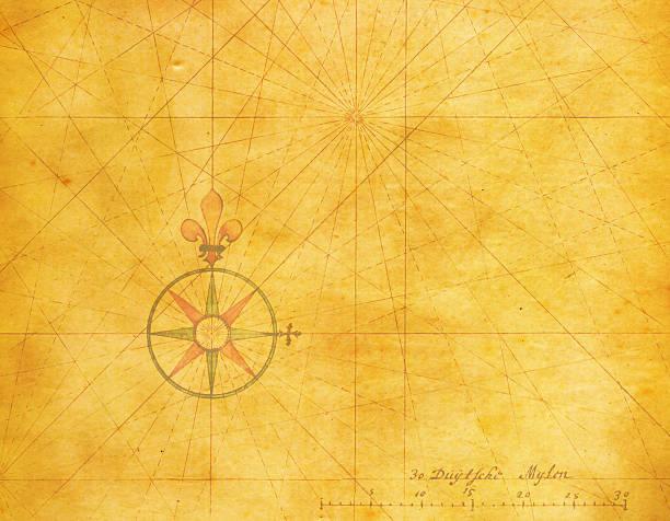 stockillustraties, clipart, cartoons en iconen met old compass rose (high resolution image) - new world