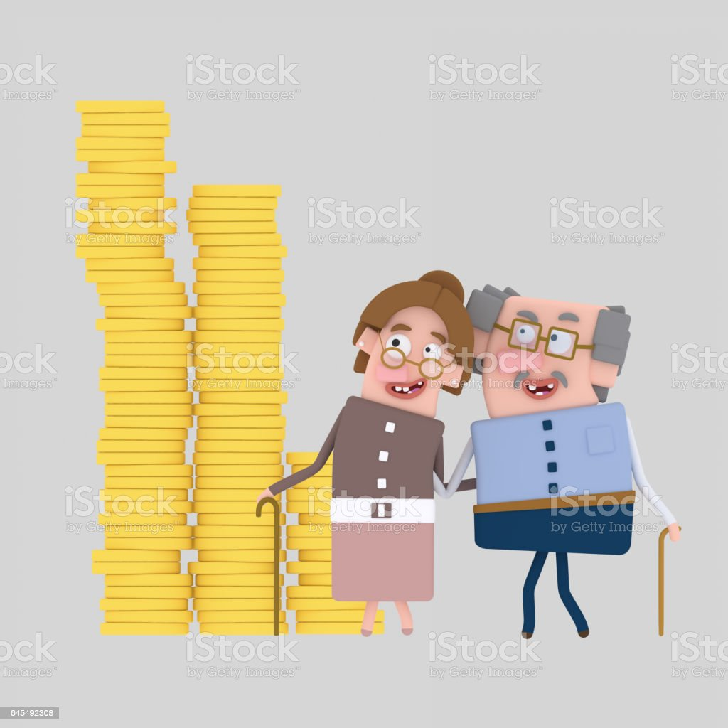 Old couple looking their saving vector art illustration