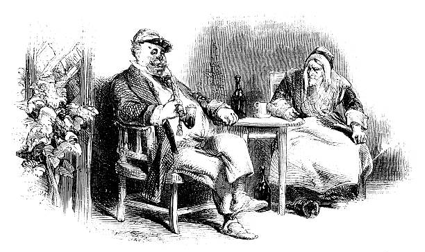 old couple sitting at a table - old man sitting chair drawing stock illustrations, clip art, cartoons, & icons