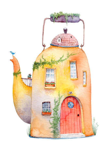 ilustrações de stock, clip art, desenhos animados e ícones de old cozy house in a vintage kettle. watercolor illustration isolated on white background. - ivy building