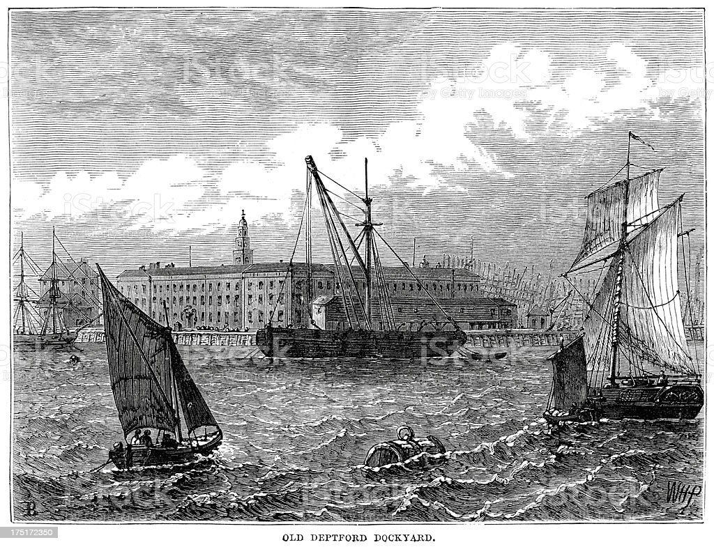 Old Deptford Dockyard royalty-free old deptford dockyard stock vector art & more images of 19th century
