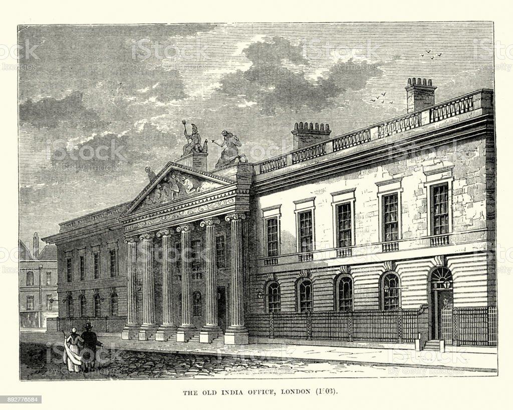 Old East India House Office, London, 19th Century vector art illustration