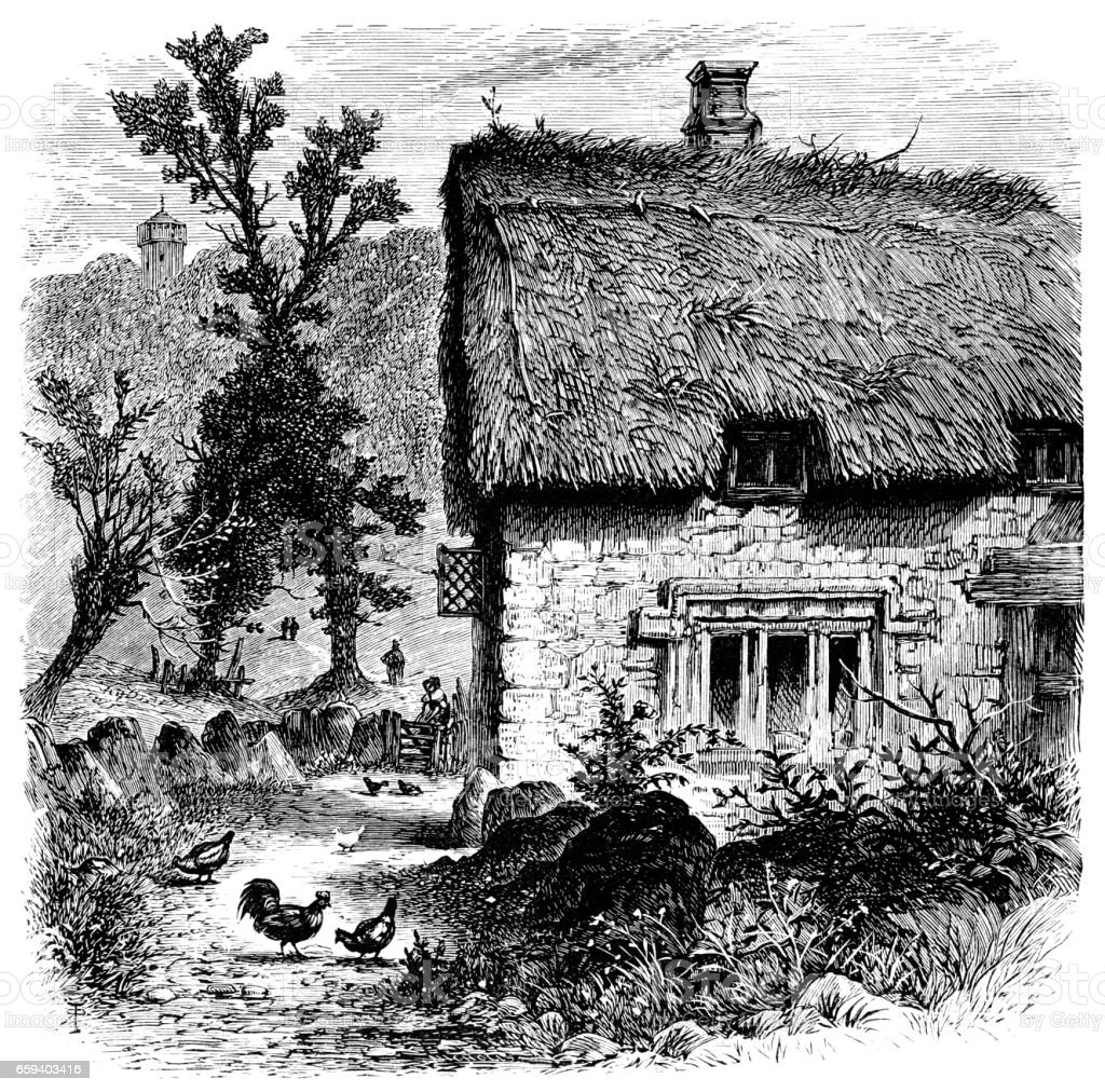 Old English Country Cottage Victorian Engraving Royalty Free Stock