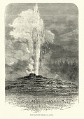 Vintage engraving of Old Faithful is a cone geyser located in Yellowstone National Park in Wyoming, United States. , 19th Century