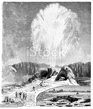 Illustration of a Old Faithful, geyser, Yellowstone 19th Century