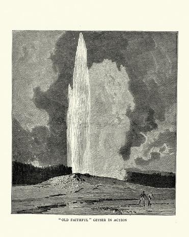 Vintage illustration of Old faithfull geyser erupting, Yellowstone Park, 1880s, 19th Century
