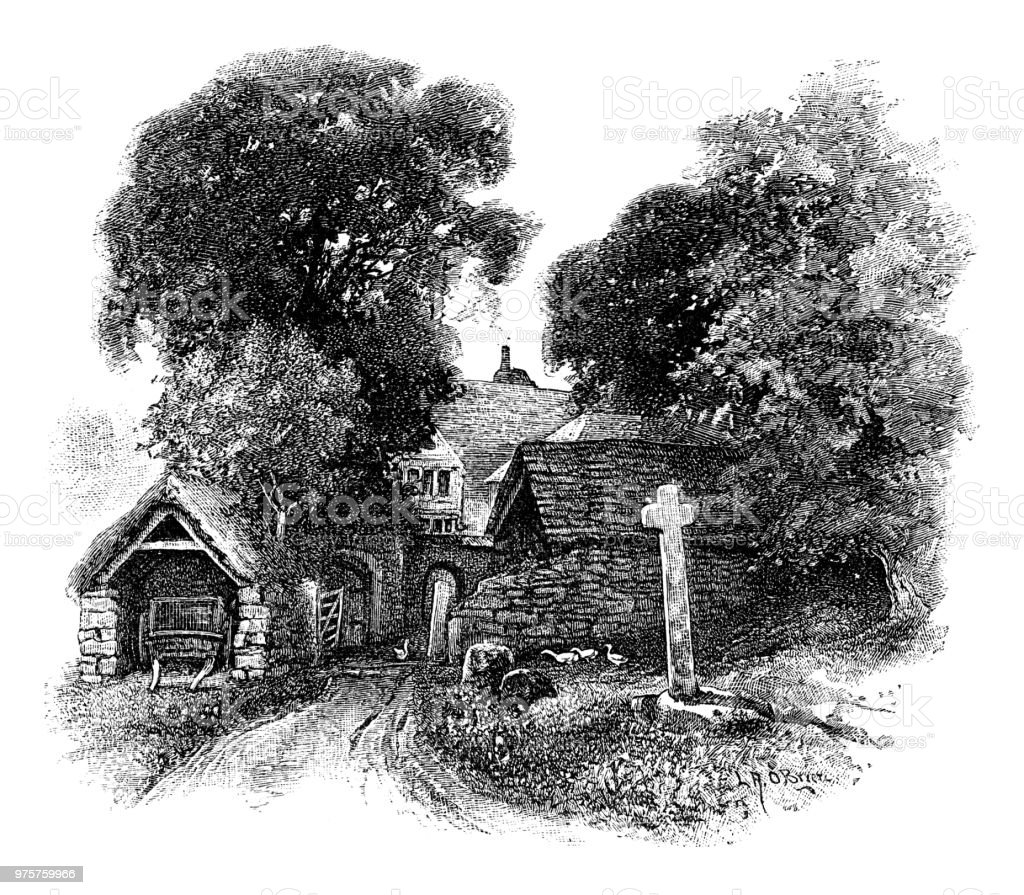 Old Bauernhaus - Lizenzfrei 19. Jahrhundert Stock-Illustration