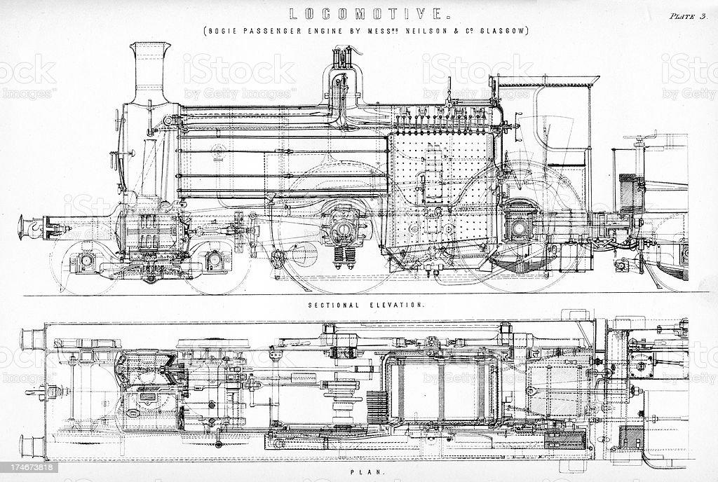 Old Fashioned Steam Train Locomotive stock vector art 174673818 – Diagram Of Train Engine
