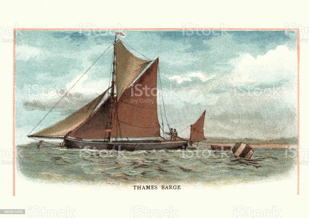 Old fashioned Thames Barge, Boat, 19th Century vector art illustration