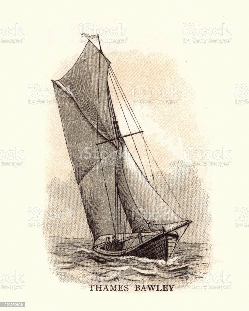 Old fashioned Thames Bawley, Boat, 19th Century vector art illustration