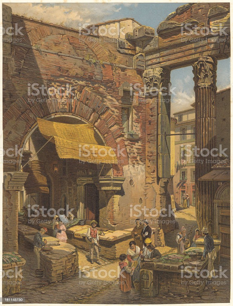Old Fish market in Rome, lithograph, published in 1873 vector art illustration