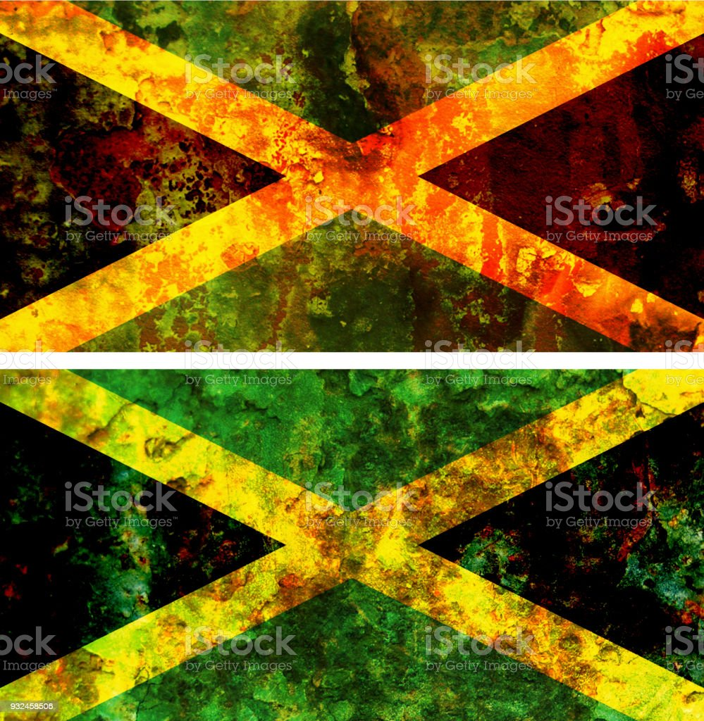 old flag of jamaica vector art illustration