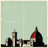 Stylized retro poster of the duomo in Florence Italy.