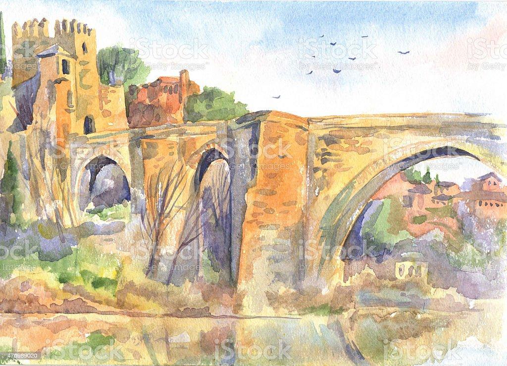 Ilustración de La Antigua Fortaleza En Toledo Y Un Puente Con La ...