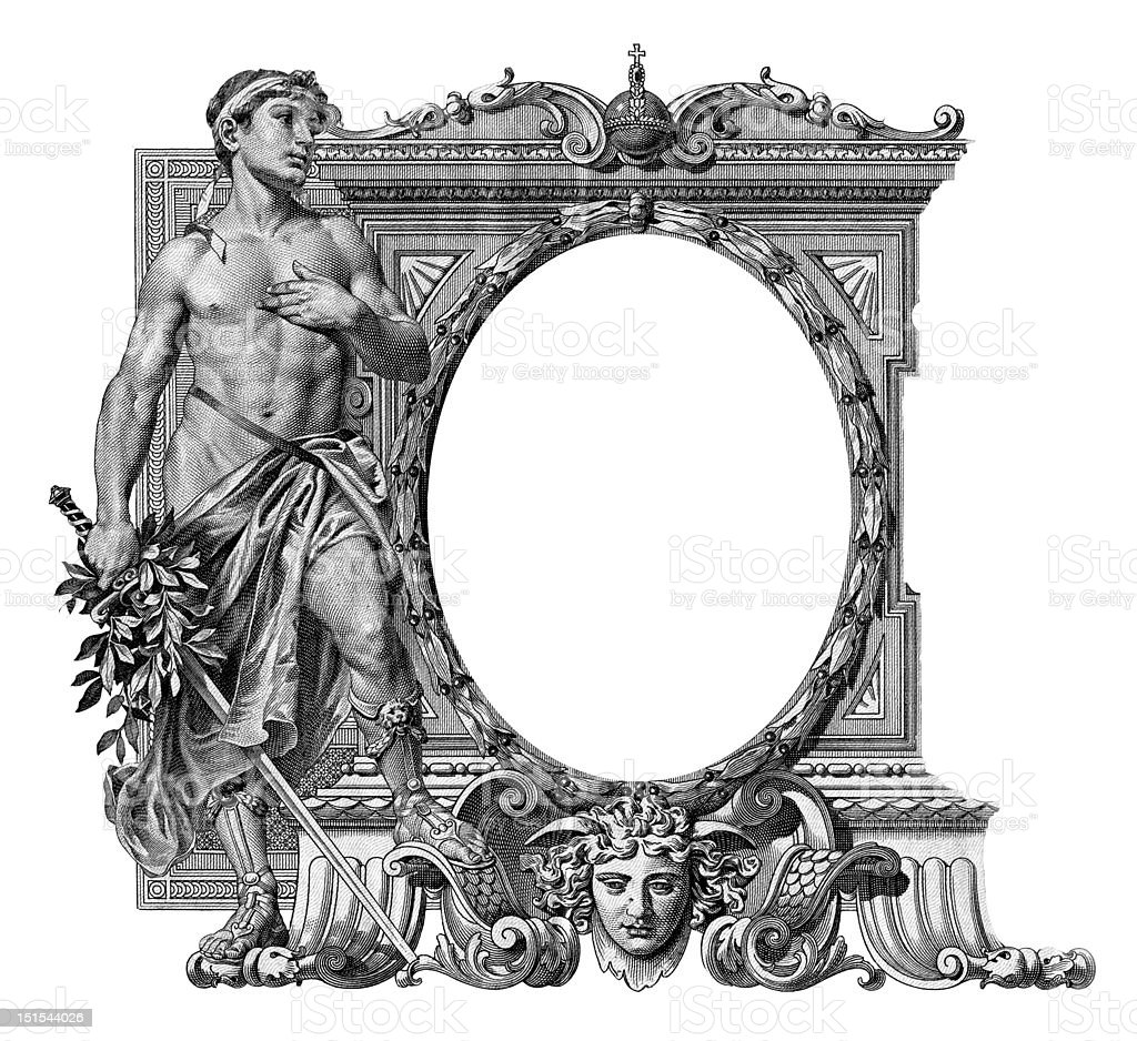 Old frame with a man royalty-free stock vector art
